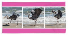 Beach Towel featuring the photograph Dancing Heron Triptych by Patti Deters