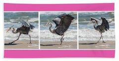 Dancing Heron Triptych Beach Sheet