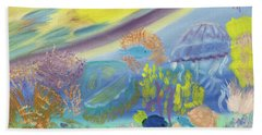 Beach Towel featuring the painting Dancing Jellies by Meryl Goudey