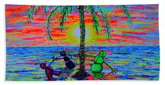 Beach Towel featuring the painting Dancing Snowman by Viktor Lazarev