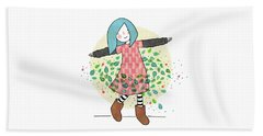 Dancing With Leaves Beach Towel by Carolina Parada