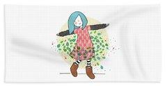 Dancing With Leaves Beach Sheet by Carolina Parada