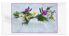 Dandelion Balancing Act With Blue Background Beach Towel by Lise Winne