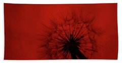 Dandelion Silhouette On Red Textured Background Beach Towel