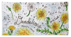 Beach Towel featuring the painting Dandelions by Monique Faella