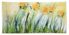 Dandelions On The Grass Beach Towel