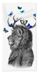 Dandy Lion With Antlers And Blue Butterflies Beach Towel