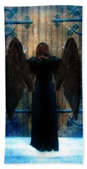 Dark Angel At Church Doors Beach Towel by Jill Battaglia