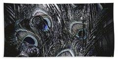 Dark Blue Peacock Feathers  Beach Towel