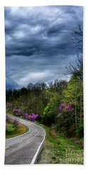 Beach Towel featuring the photograph Dark Clouds Over Redbud Highway by Thomas R Fletcher