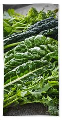Dark Green Leafy Vegetables Beach Towel by Elena Elisseeva