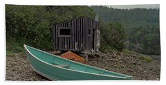 Dark Harbour Fisherman Shack And Boat Beach Sheet