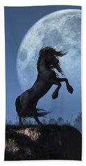Dark Horse And Full Moon Beach Towel by Daniel Eskridge