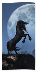 Dark Horse And Full Moon Beach Sheet by Daniel Eskridge