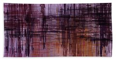 Beach Towel featuring the painting Dark Lines Abstract And Minimalist Painting by Ayse Deniz