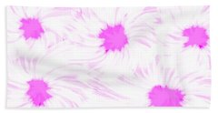 'dark Pink And White Flower Abstract' Beach Towel