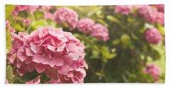 Dark Pink Hydrangea Beach Sheet by Cindy Garber Iverson