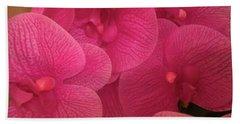 Dark Pink Orchids Beach Towel