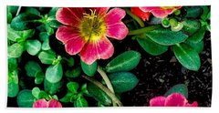 Dark Pink Purselane Flowers Beach Sheet