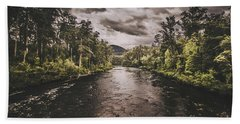 Dark River Woods Beach Towel