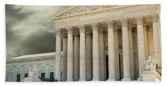 Dark Skies Above Supreme Court Of Justice Beach Sheet by Patricia Hofmeester