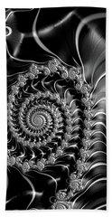 Dark Spirals - Fractal Art Black Gray White Beach Sheet