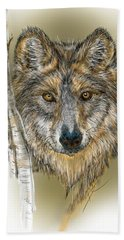 Dark Wolf With Birch Beach Towel