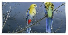 Darkness Before The Deluge - Pale-headed Rosellas Beach Towel