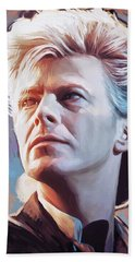 Beach Sheet featuring the painting David Bowie Artwork 2 by Sheraz A