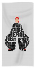David Bowie Typography Art Beach Towel