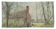David Burns's Cottage And The Washington Monument, Washington Dc, 1892  Beach Towel