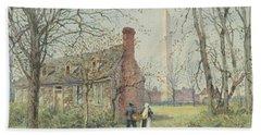 David Burns's Cottage And The Washington Monument, Washington Dc, 1892  Beach Towel