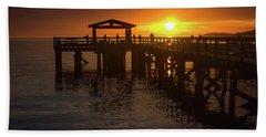 Davis Bay Pier Sunset 2 Beach Towel