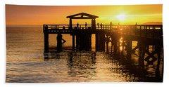 Davis Bay Pier Sunset 3 Beach Towel