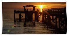 Davis Bay Pier Sunset Beach Towel