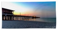 Dawn At Gulf Shores Pier Al Seascape 1283a Digital Painting Beach Towel
