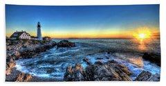 Dawn At Portland Head Lighthouse Beach Sheet
