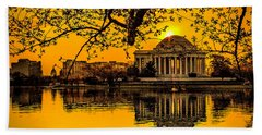 Beach Towel featuring the photograph Dawn At The Jefferson Memorial  by Nick Zelinsky