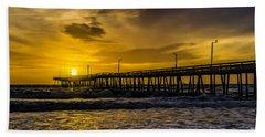 Dawn At The Virginia Pier Beach Towel by Nick Zelinsky