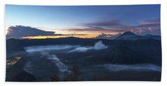 Dawn Breaking Scene Of Mt Bromo Beach Sheet