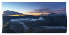 Dawn Breaking Scene Of Mt Bromo Beach Sheet