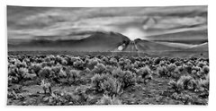 Dawn Over Magic Taos In B-w Beach Towel