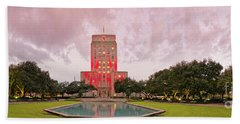 Dawn Panorama Of Houston City Hall At Hermann Square - Downtown Houston Harris County Beach Towel