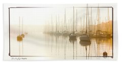 Dawn Reflections - Yachts At Anchor On The River Beach Towel