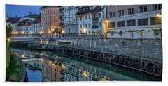 Beach Towel featuring the photograph Dawn River Reflections #3 - Slovenia by Stuart Litoff
