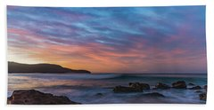Dawn Seascape With Rocks And Clouds Beach Sheet
