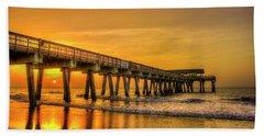 Beach Towel featuring the photograph Dawn Under Tybee Island Pier Sunrise Reflections Art by Reid Callaway