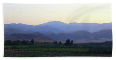 Dawn View Of The Sierras Beach Towel by Timothy Bulone