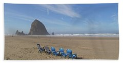 Day At Haystack Rock Beach Towel