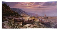 Beach Towel featuring the painting Day Ends On The Amalfi Coast by Rosario Piazza